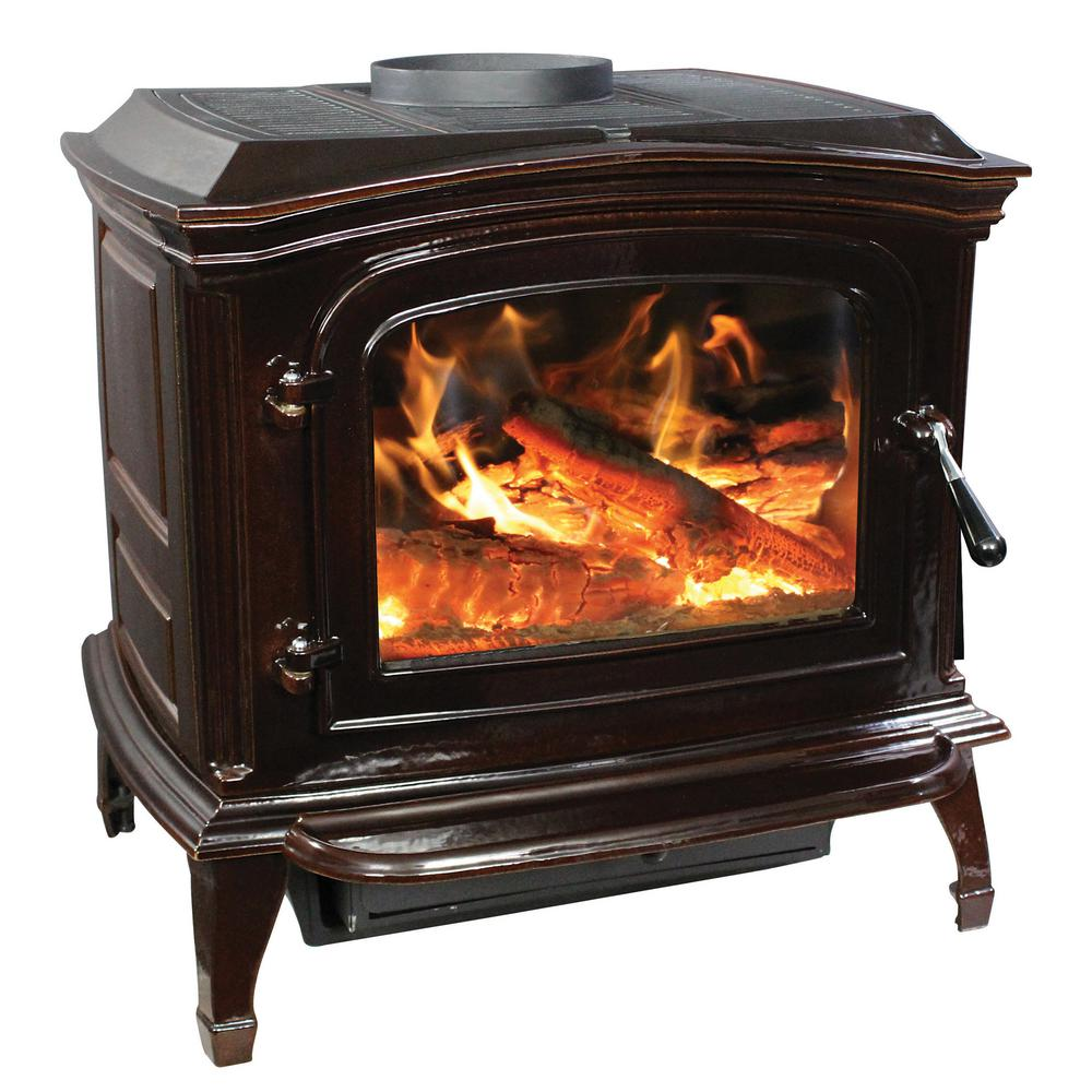 The cast iron stove has a porcelain finish that offers vibrant colors to  showcase the stoves French design features.
