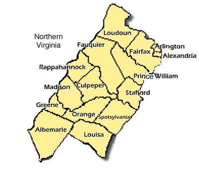 Northern VA Counties served by Tim Corbin's Tree Service